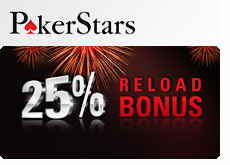 new reload bonus at pokerstars.com 25 percent free