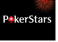 company logo - pokerstars - fireworks in the background