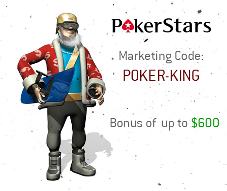 December 2010 Pokerstars Winter Marketing Code - The King with his snowboarding gear