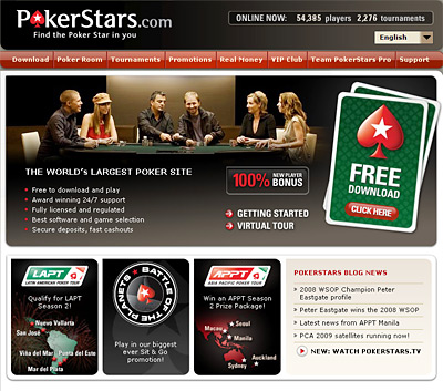 website screenshot - pokerstars.com