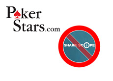 company logos pokerstars and sharkscope with a no sign over it