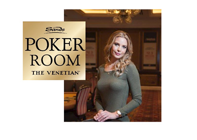 Erica Lindgren represents the Sands Poker Room at the Venetian - Promo photograph