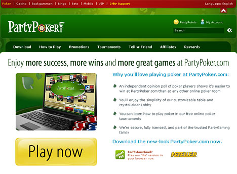 website screenshot - partypoker