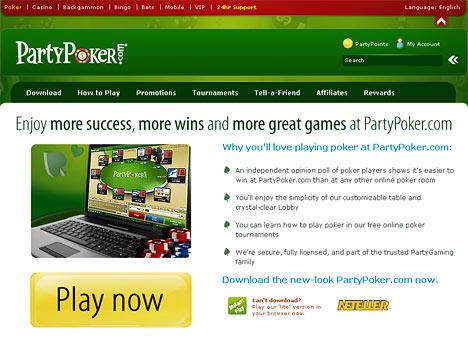 website screenshot - partypoker