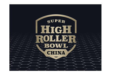 The Super High Roller Bowl - China - Year 2018 - Logo with a digitized black background.
