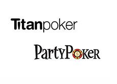Party Poker and Titan Poker logos