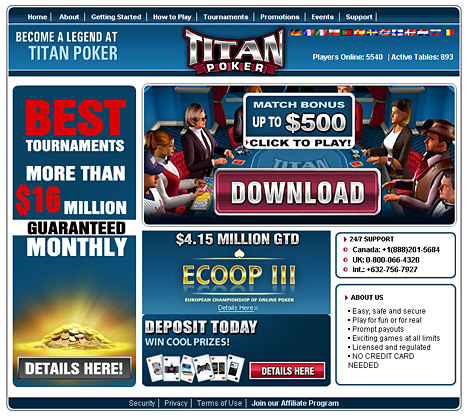 screenshot titan poker room