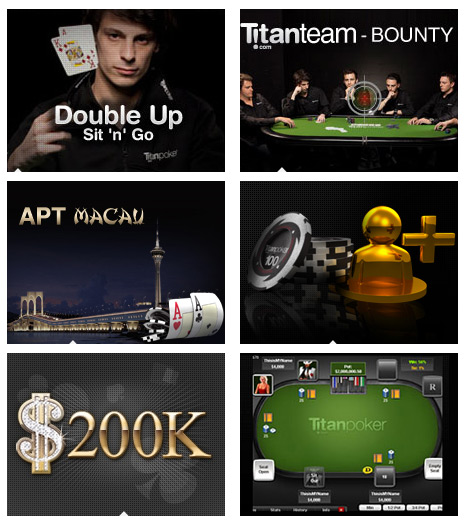 Titan Poker Promotions - Double Up Sit and Go, Titanteam bounty, APT Macau, 200k - Software screenshot