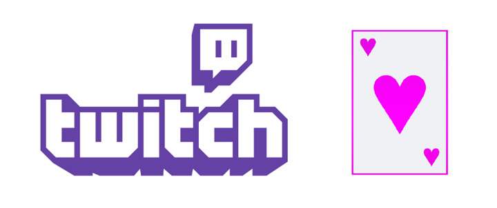 The Twitch TV logo next to an Ace of spades.