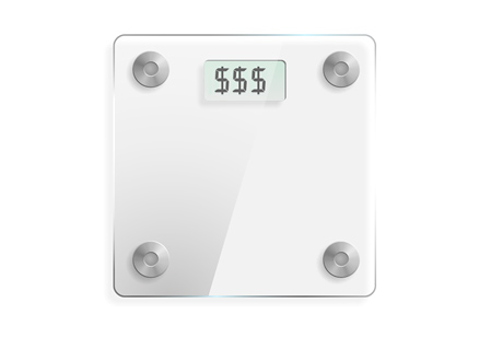 Weight Scale with Dollar Signs - Weight Bets in Poker World - Illustration / Concept