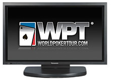 world poker tour logo on a plasma television set - wpt - black and white background